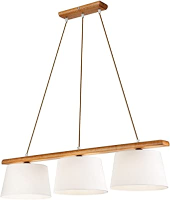 Lampada a sospensione per interni Beverely in legno e tessuto bianco stile moderno design scandinavo 3xE27 L:90 cm ideale per cucina sala da pranzo