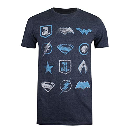 DC Comics DC Logo Collection Camiseta, Azul (Heather Navy HNY), M para Hombre
