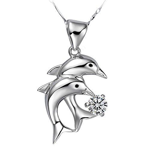 Angel for Angel. 925 Sterling Silber österreichischen Kristall- Schmuck diamentes Zwei Delphine Halskette mit 45cm Sterling Silber Kette Schmuck