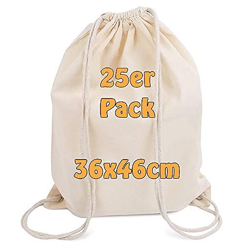 Cottonbagjoe moderner Turnbeutel | unbedruckt | bemalbar | Baumwollrucksack | Öktex 100 zertifiziert | Stoffbeutel mit Kordelzug | Jutebeutel