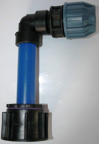 AME90R1384 _ KV Tube d'écoulement avec tube plastique DN32, 100 mm angle AG 1 et 90 ° + adaptateur connecteur de serrage 32 mm, IBC Réservoir Eau de Pluie de Accessoires de conteneurs Mamelon de Bidon
