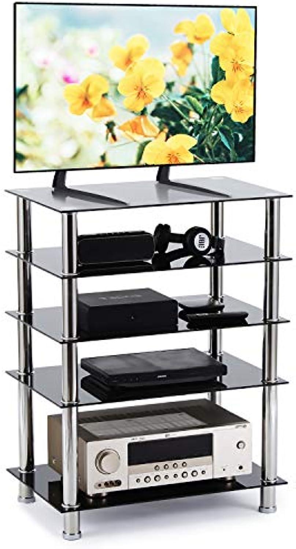 RFIVER HiFi Rack Regal Audio Schrank Fernsehertisch Glas mit Fünf Ablagen Schwarz HF1002