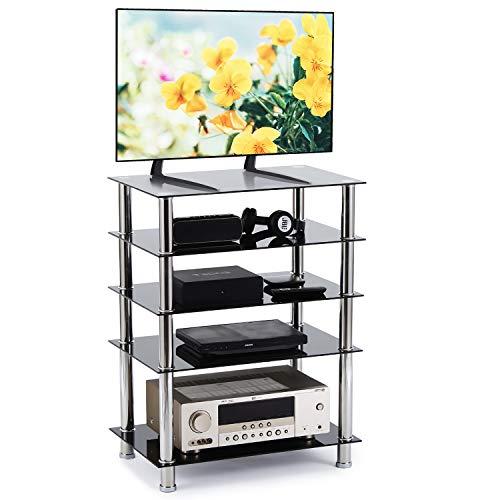 RFIVER Mueble HiFi Mesa TV Cristal con 5 Estante para Equipos de Medios Audio Video HF1002