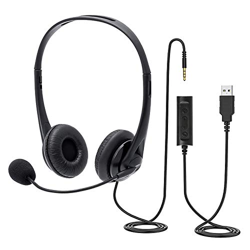 Chat Headset with Microphone,PC Headset USB/3,5mm Business Headset,für entspanntes Gaming, e-Learning und Musik, Noise-Cancelling-Mikrofon, Call Control, hoher Komfort
