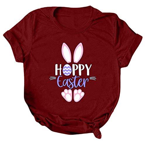 Blusa de verano para mujer, informal, suelta, cuello redondo, manga corta, con estampado de letras, para Pascua, día de la madre, para regalos (vino, XL)
