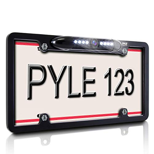 License Plate Frame Rear View Backup Camera - Reverse Parking Assist Night Vision Waterproof Marine Grade Cam Distance Scale Line Display w/ 170° Wide Viewing Angle & LED for Low Light - Pyle PLCM16BP