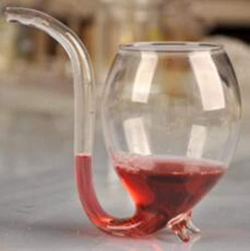 LinZX Stripe Beer Bar Material de Vidrio de Cerveza del Vidrio de Vino Rojo W/Tubo Pajita Novedad,Red