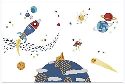 Vinilos Decorativos Pared Vinilos De Pared Decorativos Vinilos Infantiles Pintado a mano dormitorio de los niños fondo papel de pared dibujos animados espacio pared cohete nórdico moderno minimalista