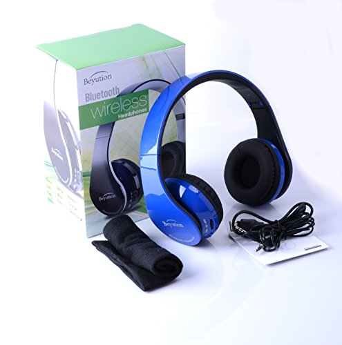 New RoyalBlue Color Beyution513 Hi-Fi Over-Ear Stereo Bluetooth Headphones-Built in Mic-Phone Talk with Phone or Listen Music Clearly, Built Noise Cancellation Technology, with Retail Package!