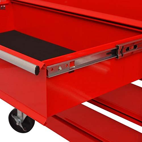 vidaXL Werkstattwagen mit 10 Schubladen XXL Stahl Rot - 5