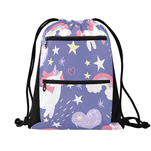 YYYJIA Colorido Doodle Unicornios Bolsa de Cordón Negro PE Juegos Bolsa de Gimnasio Chicas Mochila Escolar para Senderismo Yoga Gimnasio Natación Viaje Playa