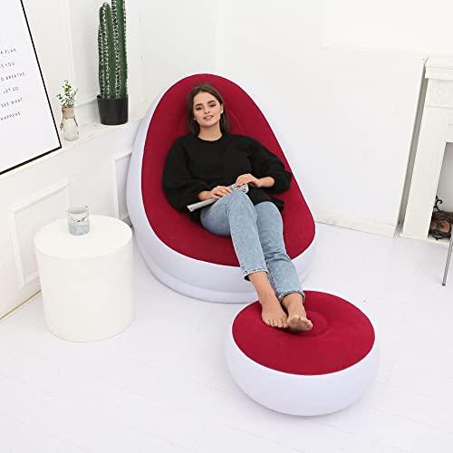 Wpond Sofá inflable de 45,7 x 38,5 x 32,6 pulgadas, sofá hinchable con reposapiés y bomba de aire eléctrica, portátil, para el hogar, la oficina o el exterior, color rojo