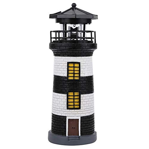 Belissy LED Solar Power Lighthouse Statue Rotating Outdoor Light Garden Yard Lawn Craft Ornament(Black+White)