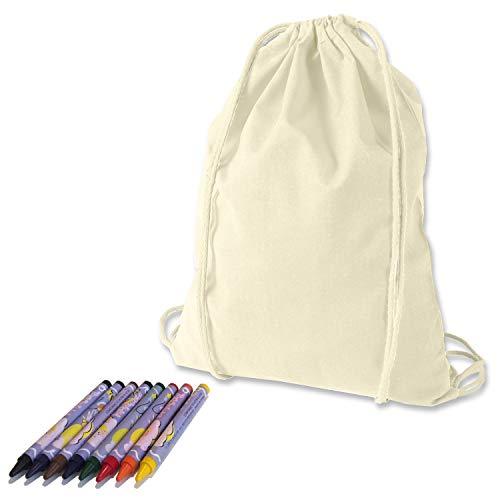 KET Turnbeutel zum Bemalen inkl. Textilstifte - Gymbag - DIY Set zum Selbstgestalten - Kreatives Geschenk/Geburtstag/JGA