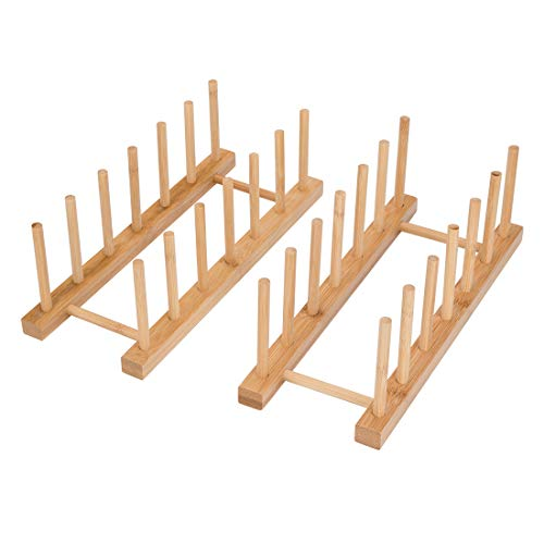 Tompig 2Pack Bamboo Wooden Dish Rack,6-Slots Plate Rack Stand Pot Lid Holder Kitchen Cabinet Organizer,Cutting Board, Bowl, Drying Rack and more