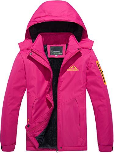 TACVASEN Softshelljacke Damen Wasserdicht Atmungsaktiv Windjacke Outdoor Skijacke Wandern Jacke Fleece Softshell Outdoorjacke Arbeit Jacke Winter Freizeitjacke Sport Regenmantel Damenjacke Rosa Pink