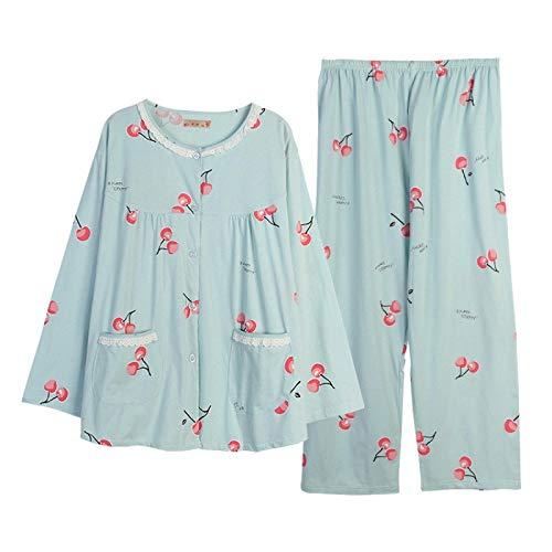 LEYUANA Pyjama,Plus Size 130kg XXXXXL Sweet Cherry Pyjamas Sets Frauen, Baumwolle...