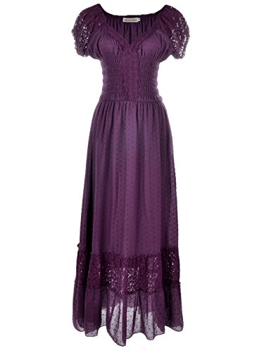 Anna-Kaci Renaissance Peasant Maiden Boho Inspired Cap Sleeve Lace Trim Dress, Purple, XX-Large