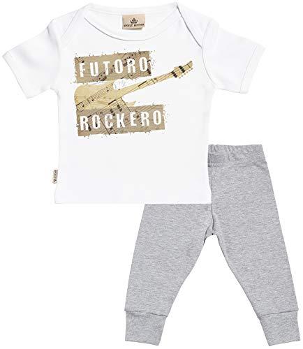 SR - Futuro Rockero Regalo para bebé - Blanco Camiseta para bebés & Gris Pantalones para bebé - Ropa Conjuntos para bebé - 6-12 Meses