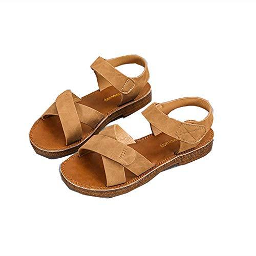 Sandalias Zapatos Planos Para Mujer 2020 Verano Nuevos Zapatos Romanos Casuales Salvajes Tendón De Carne De Vaca Fondo Suave Antideslizantes