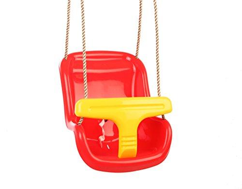 Gartenwelt Riegelsberger Babyschaukel 2-teilig Babysitz Schaukelsitz Schaukel für Babys & Kleinkinder, rot-gelb