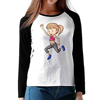 Onesunc FashionWomen Print Sportist Cotton Graphic Long Sleeve Baseball T-Shirts XXL Black by Onesunc