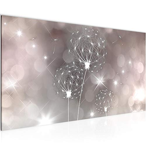 Bilder Blumen Pusteblume Wandbild Vlies - Leinwand Bild XXL Format Wandbilder Wohnzimmer Wohnung Deko Kunstdrucke Rosa Grau 1 Teilig - MADE IN GERMANY - Fertig zum Aufhängen 206712c
