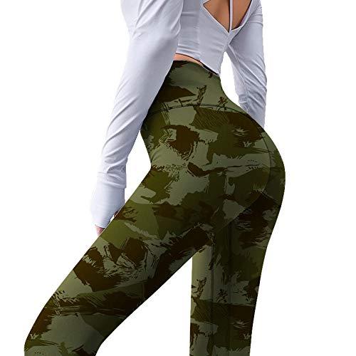 MQQM Push up Yoga Leggings de Cintura,Pantalones de Yoga de Color Puro Impreso, Sexy Cintura Alta Aptitud Pantalones-Amarillo_XL,Opacas Cintura Alta Yoga Medias