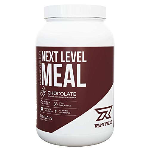 Runtime Next Level Meal - vollwertiger Mahlzeitersatz für langanhaltende Sättigung, Energie, Konzentration und Leistungsfähigkeit, mit Vitaminen und Nährstoffen (Chocolate)