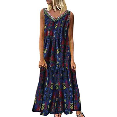 ZZBO Vintage Shirt Kleid Damen Maxikleid Sommerkleider Casual Urlaub Locker Lange Tank Kleid Hemdkleid Baumwolle Leinen Kleider Ärmellos V-Ausschnitt Große Größe Freizeitkleider Strandkleid S-5XL