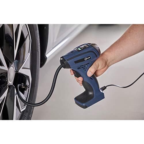 Cartrend 10728 LED Handkompressor 12V, beleuchtet,Luftpumpe für Reifen,Bälle,Luftmatratzen,Schwimmhilfen,mit LCD-Display, 25 l/min, 8,3 Bar