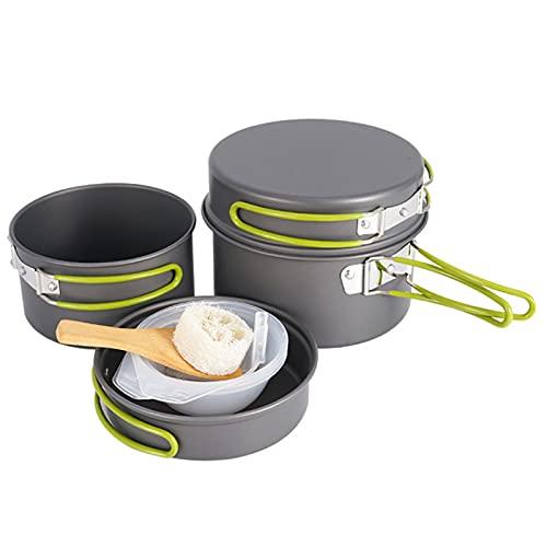 SHHMA Juego de Utensilios de Cocina de Camping, Juego de cocción de Camping Ligero portátil, Utensilios de Campamento PANTANTES Put Set con Bolsa de Nylon para mochileros de Viaje
