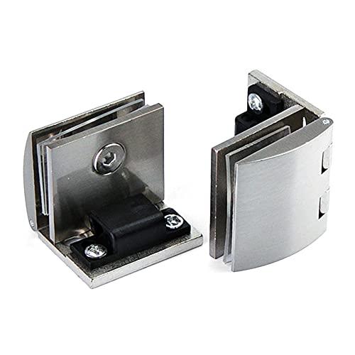 Kit de bisagra de pivote de puerta de cristal de 90 grados con bisagras de aleación de zinc para ducha, clip de abrazadera de puerta de cristal 2 unidades,adaptativo de 8 a 10 mm de vidrio