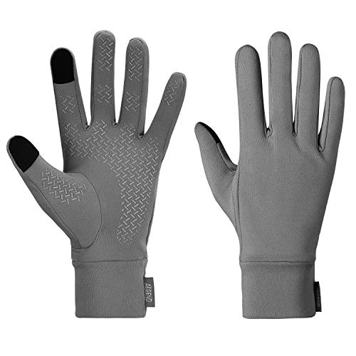 Aegend Running Sports Gloves Winter Lightweight Touch Screen Warm Gloves for Women Men Cycling, Driving, Riding Outdoor Gloves Mittens Liners with Touchscreen in Early Spring Or Fall, Gray, Medium