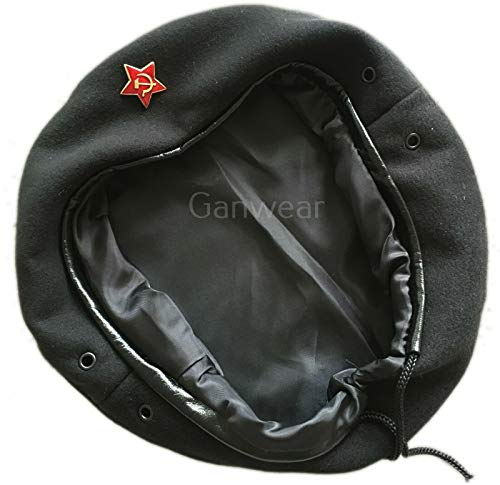 Ganwear® UDSSR Sowjetisch Russische Armee Uniform Schwarz Che Guevara Stil Baskenmütze Hut Kappe Kleines Abzeichen