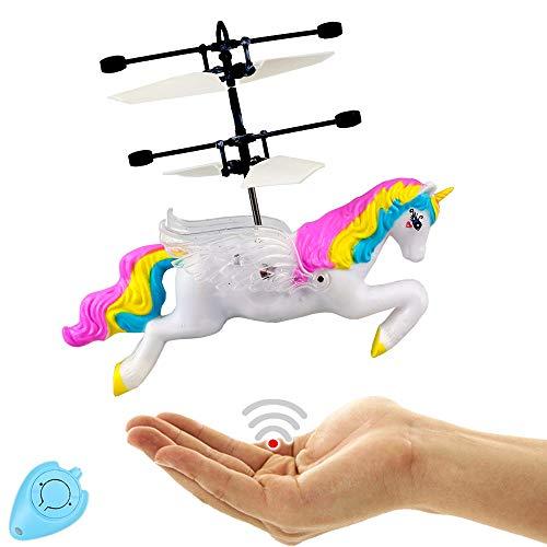 Dreamtoys Fliegendes Einhorn - Pegasus mit Led Lichter!(weiß) Einfach zu Steuern mit der Hand!Tolles Spielzeug für kleine und große Girls!Der Megaspaß auf jeder Kinderparty,Unicorn,Pferd,Party,