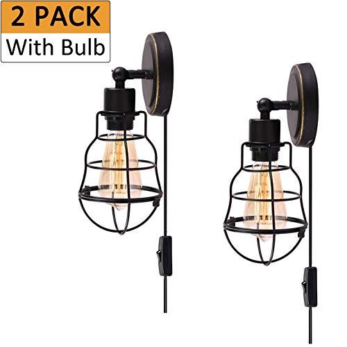 Gpzj - Lámpara de pared flexible con interruptor de regulación y cable de 1,8 m, color negro envejecido industrial, lámpara de pared E27 para Studio Workbench Office