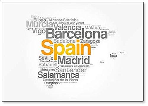 Spanje, Kaart Word Cloud - Koelkast Magneet