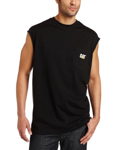 Caterpillar Herren T-Shirt mit Tasche, ärmellos - Schwarz - Groß
