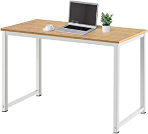 AZL1 Life Concept Modern Studio Collection Soho Computer Office Desk Simple Study Table Sturdy Writing Desk Workstation for Home Office, 47 Inch, Light Walnut with White Metal Frame