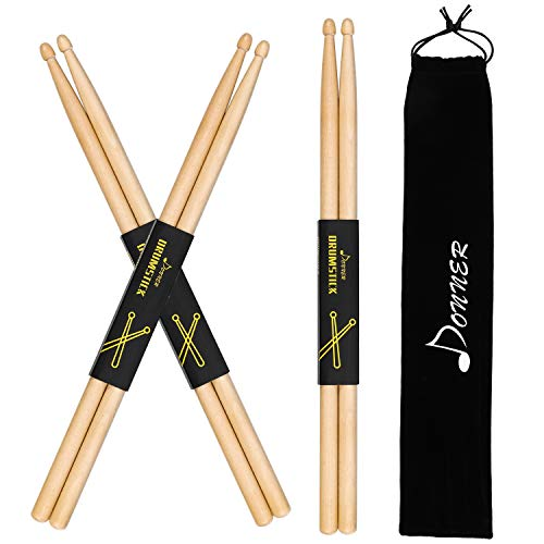 5. Donner Snare Drum Sticks 5A (3 Pair With Carrying Bag)