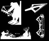 Detailed Decals Bow Hunting Decals: Compound Bow, Tree Stand, Arrow Head, Hunting, Vinyl Decals White