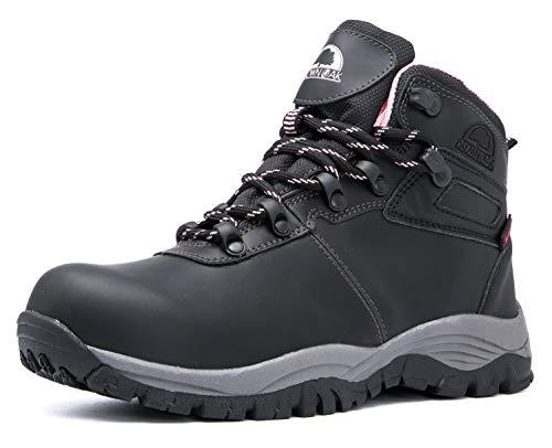 Brown Oak Womens Waterproof Trekking Camping Backpacking Outdoor Shoes Hiking Boots (Black, 8)