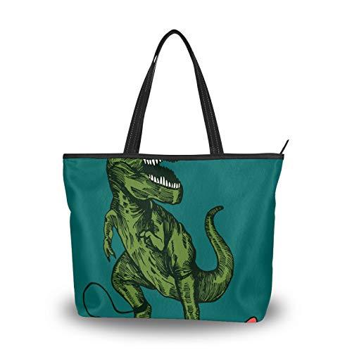 Bolso de mano para mujer, gran capacidad, viajes, casual, compras, trabajo, asa superior, bolsos de mano, bolso de mano, bolso de mano, dinosaurio, color verde
