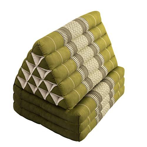 Laeto Yoga & Meditation Jumbo Thai Triangle Cushion with 3 Fold for Meditation Mattress, Yoga or Day Bed (Green)