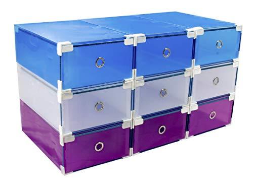 9 Cajas trasparentes de Almacenamiento para Zapatos y Zapatillas apilables, robustas +10% PVC, cajones de plástico MY Box TO Store Zapatero apilable, protección contra el Polvo