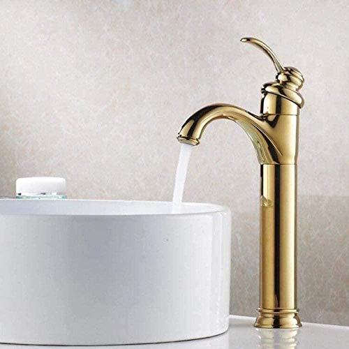 Grifo de cubierta de latón cepillado con aceite dorado de estilo vintage de grifo alto para baño