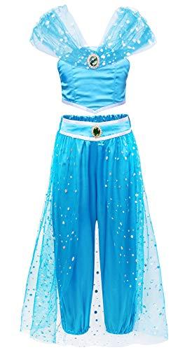 Jurebecia Disfraz de Princesa para Nia Jasmine Vestidos de Fiesta Top con Lentejuelas Conjunto de Pantalones Nia Sling Tops Pantalones Largos Trajes de Borla de Tul Cosplay Azul