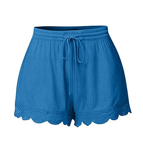 LONGLA Leggings de mujer de encaje, pantalones de yoga, de un solo color, pantalones de deporte, cintura alta, elásticos, con cordón, para correr, de gran tamaño, para hacer deporte, azul, M