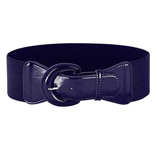 Teens PU Leather Waist Belt for Vintage Dress (M,Navy Blue)